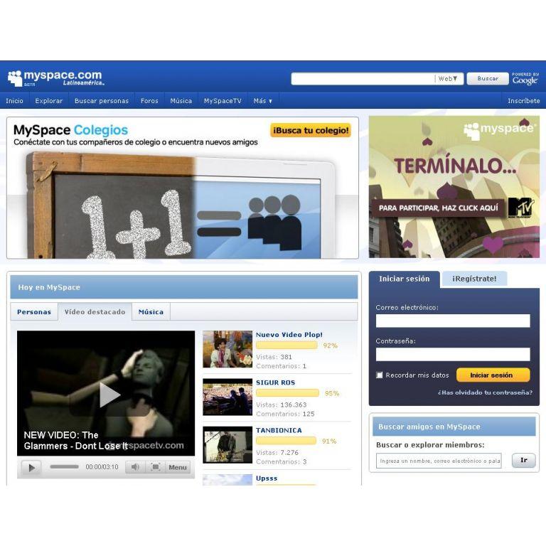 El sitio más visitado de internet Myspace.com