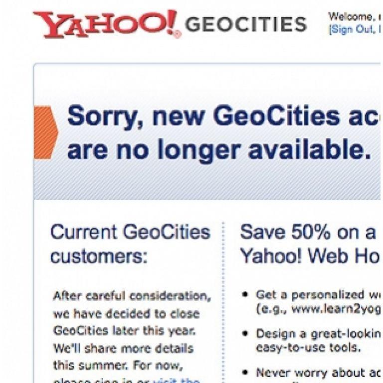 Yahoo cierra GeoCities, su sitio gratuito de alojamiento de páginas.