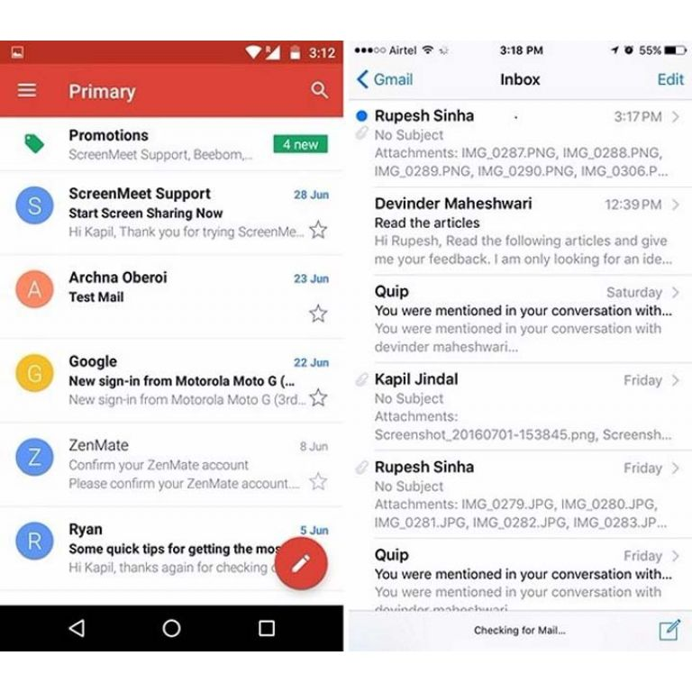 Gmail se actualiza en iOS con todas las características de Android
