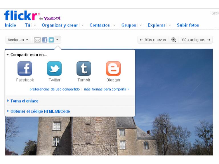 Flickr permite compartir imágenes en Facebook y Twitter