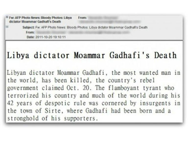 Ciberdelincuentes aprobechan la muerte de Khadafi