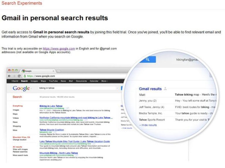 Google planea incorporar los mails a los resultados de sus búsquedas.