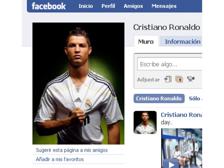 El Facebook de Cristiano Ronaldo tiene cuatro millones de fans