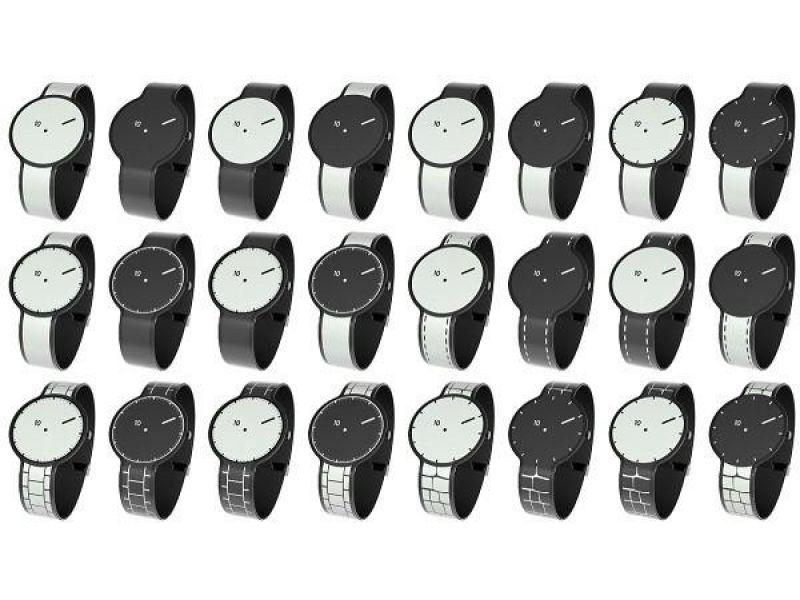 Un reloj con correa de tinta electr�nica que cambia de dise�o
