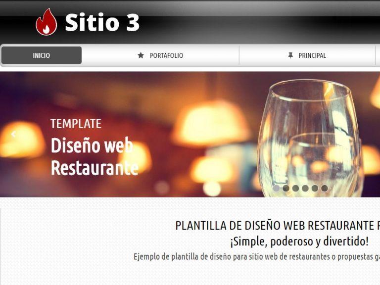 Opción de diseño de sitio web para Restaurante. - RESTAURANTE 3 . Diseño sitio web institucional