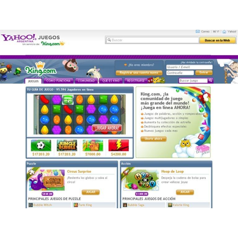 Yahoo! selló una alianza con King.com para ofrecer acceso a juegos.